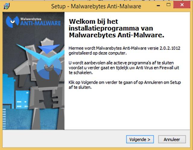 Malwarebytes installatie