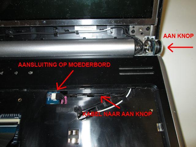 Packard Bell Tj65 aan knop.