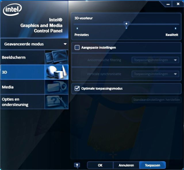 Intel HD Graphics controle programma