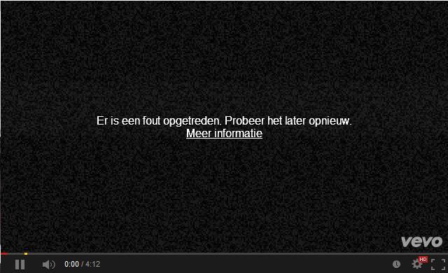 Youtube er is een fout opgetreden