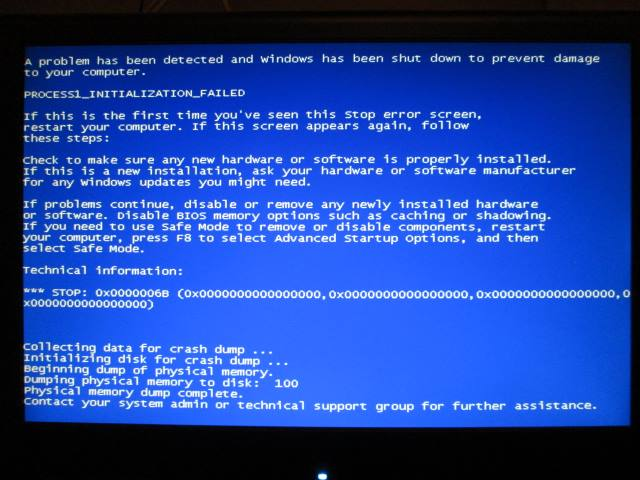 Blue screen 0x0000006B PROCESS1_INITIALIZATION_FAILED