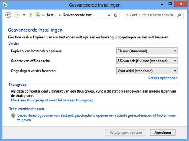 Windows 8 bestandsgeschiedenis instellingen
