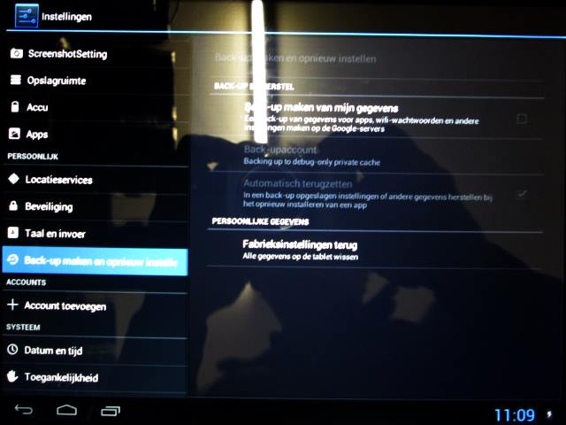 android tablet resetten