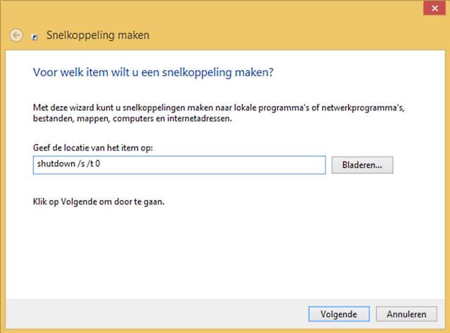 snelkoppeling voor afsluiten Windows 8