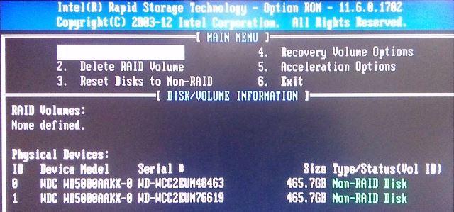 RAID configuratiescherm