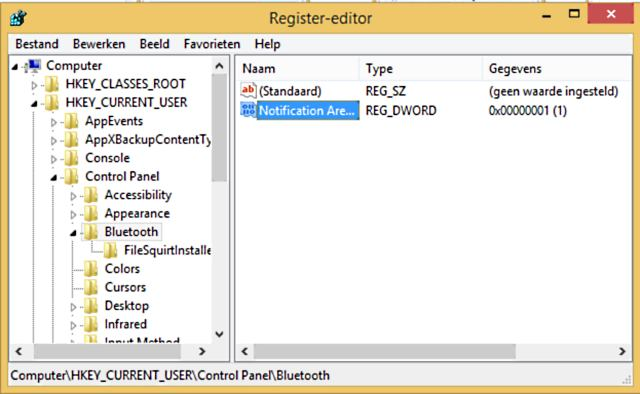 bluetooth icon terugzetten via registry
