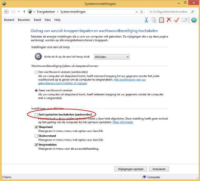Windows 8 afsluiten oplossen door snel starten uit te schakelen