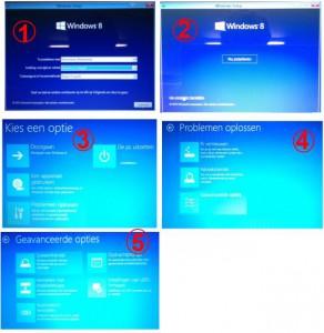 Windows 8 start niet: zwart scherm en witte pijl