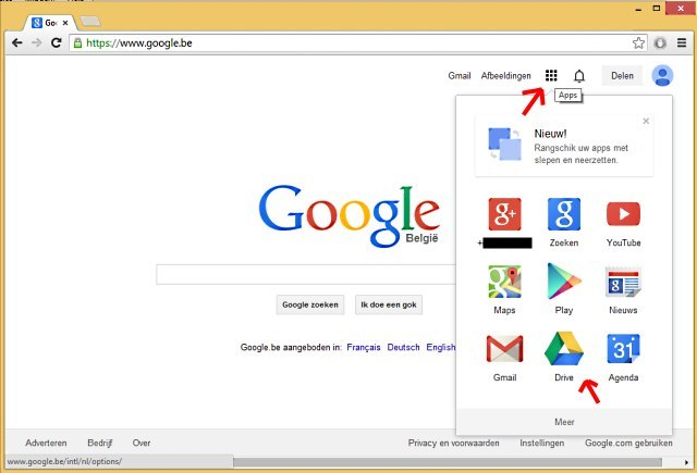 Google Drive via Google website