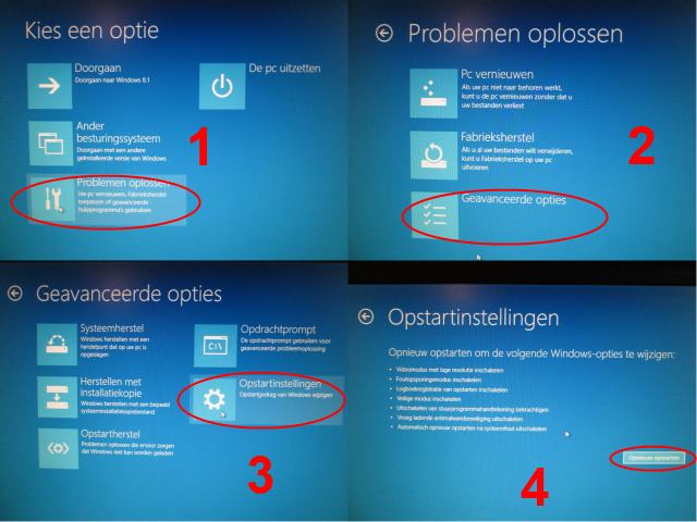 Windows 8 veilige modus via opstartopties