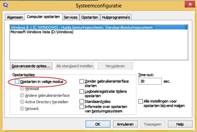 Windows 8 veilige modus via systeemconfiguratie