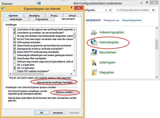 Internet Explorer opnieuw instellen