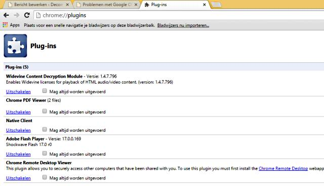 Google Chrome plugins in en uitschakelen