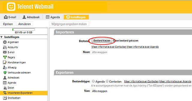 emails en agenda importeren in Telenet webmail