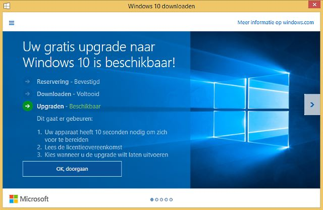 Windows 10 gratis update melding