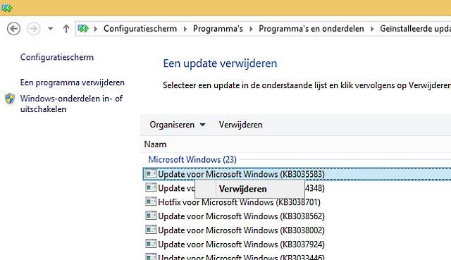 Windows 10 update vermelding