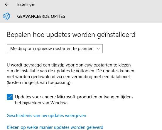 Windows 10 updates plannen