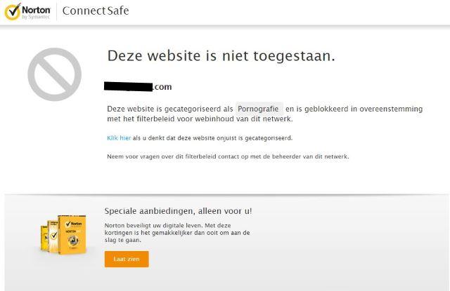Norton ConnectSafe blokkeert gevaarlijk websites