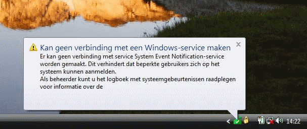 Geen verbinding met service system event notification service
