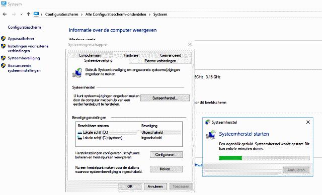 systeemherstel starten vanuit Windows 10