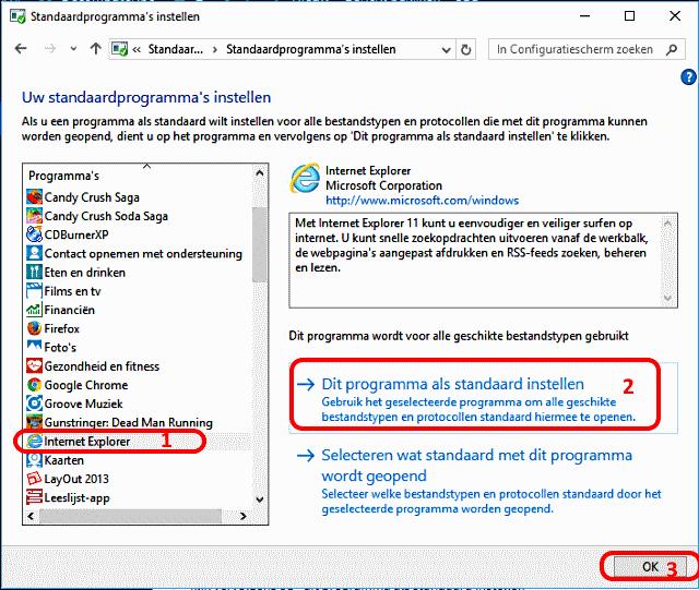 Internet Explorer 11 als standaard programma instellen