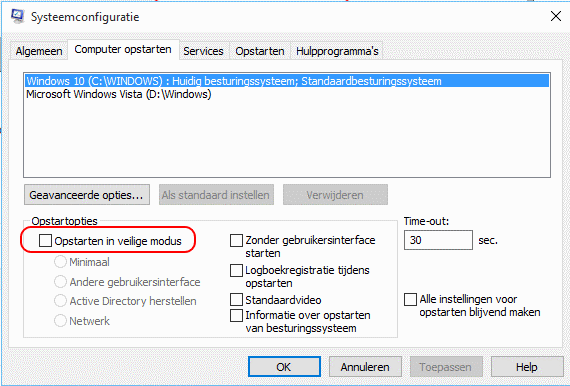 Windows 10 veilige modus starten via systeemconfiguratie