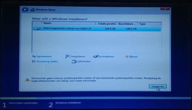 Systeempartitie probleem tijdens installatie windows 10 - Een verwijderbare partitie maken ...