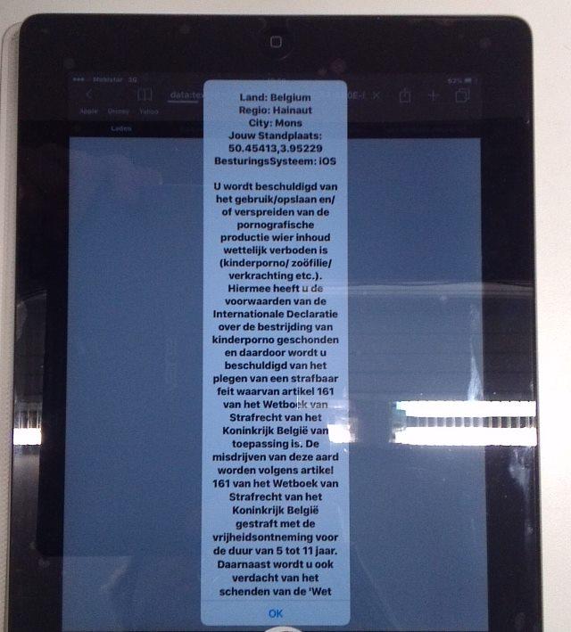politievirus op een iPad