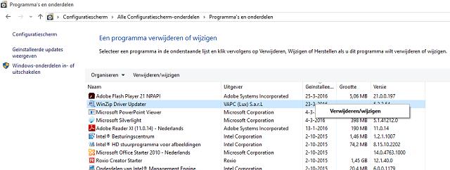 WinZip driver updater verwijderen