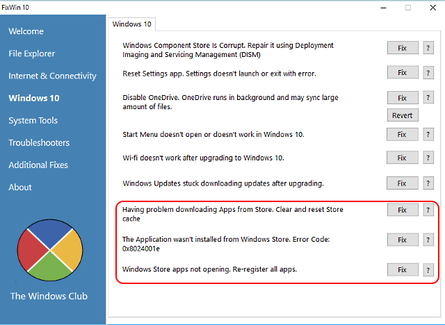Windows 10 apps problemen oplossen met FixWin 10