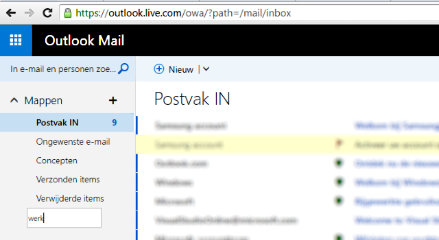 map aanmaken in Outlook mail