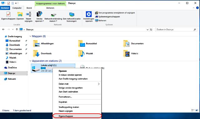 Windows 10 lokale schijf eigenschappen