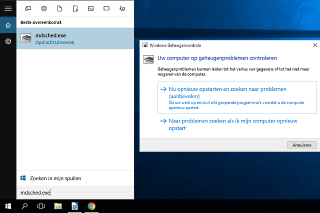 ram geheugen testen Windows 10