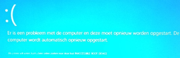 Inaccessible boot device Windows 10