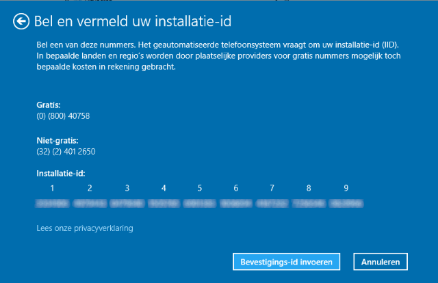 bellen en Windows 10 activeren