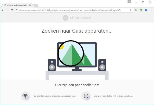 setup zoekt de Chromecast