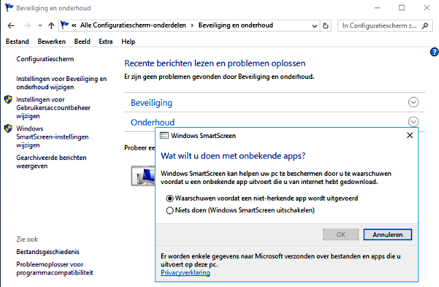 SmartScreen filter uitschakelen Windows 10