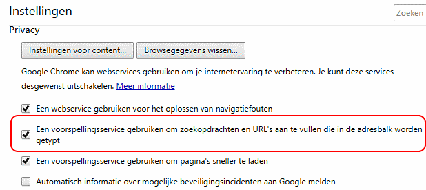 Google Chrome voorspellingsservice