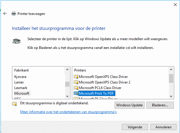 Microsoft Print to PDF printer installeren