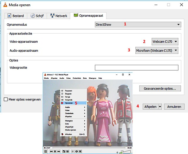 webcam opnemen met VLC media player
