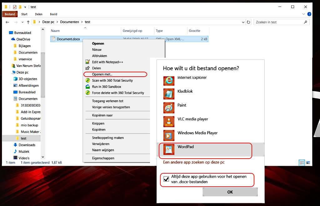 Instellen met welk programma een document geopend moet worden.