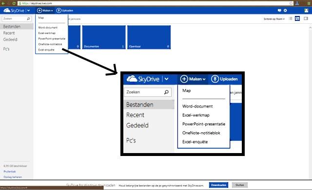 Skydrive en Office Web.