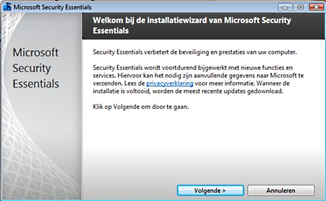 Microsoft Security Essentials installatie.