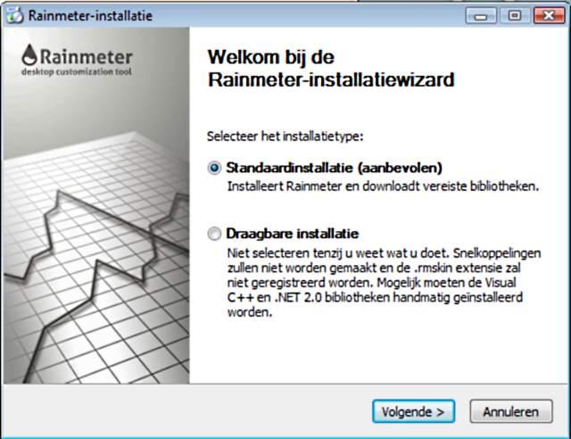 Rainmeter installatie.
