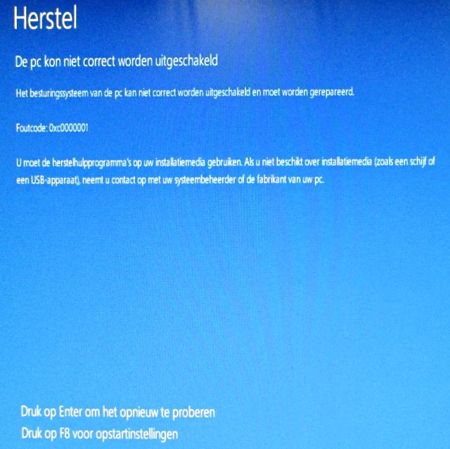 Windows 8 foutcode 0xc0000001