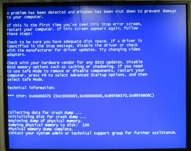 Blue screen 0x0000007E.