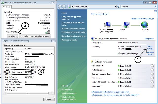 IP-adres wireless router bepalen via netwerkcentrum