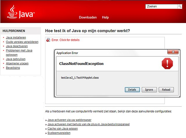 Sun Java fout ClassNotFoundException