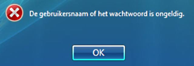 De gebruikersnaam of het wachtwoord is ongeldig.