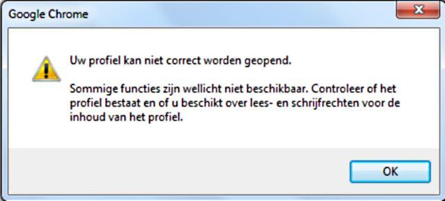Uw profiel kan niet correct worden geopend.